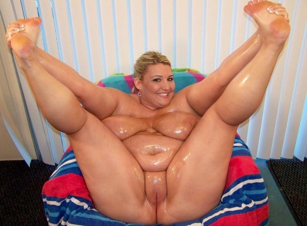 Oiled fat blonde