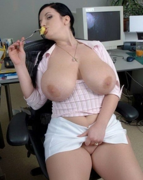 Big boobs in office