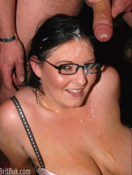Black hair, glasses bbw gets cum into her face.