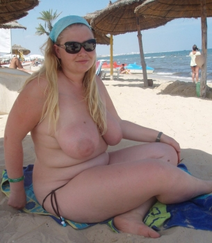Hot blonde girl on the beach