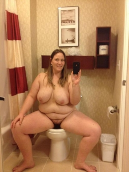 Fat wife on the toilet