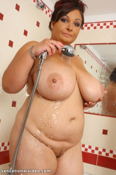 Chubby wife in shower