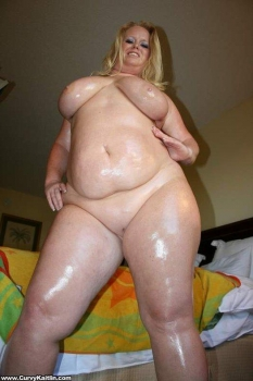 Sexy horny blonde oiled big body