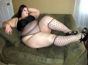 Sexy and hot chubby woman in lingerie